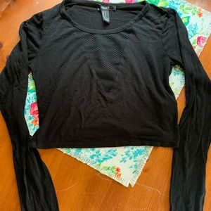 Forever 21 black long sleeve crop top